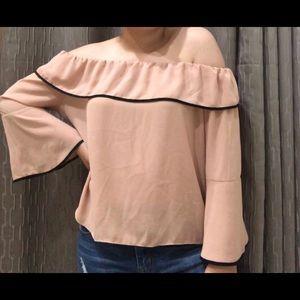 pink strapless shirt